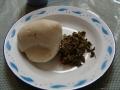 fufu & njama njama serving in traditional dish